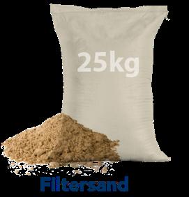25 Kilo Sack mit Filtersand mit Sandhaufen