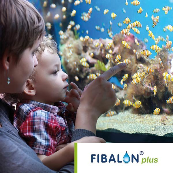 FIBALON plus - Mutter mit Kind vor einem Aquarium