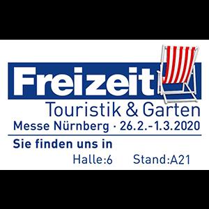 Freizeit, Touristik und Garten, Messe Nürnberg 26.2. - 1.3.2020, Sie finden uns in Halle 6, Stand A21