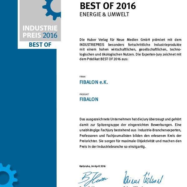 Industriepreis Best of 2016 Energie & Umwelt. Die Huber Verlag für Neue Medien GmbH prämiert mit dem INDUSTRIEPREIS besonders fortschrittliche Industrieprodukte mit einem hohen wirtschaftlichen, gesellschaftlichen, technologischen und ökologischen Nutzen.