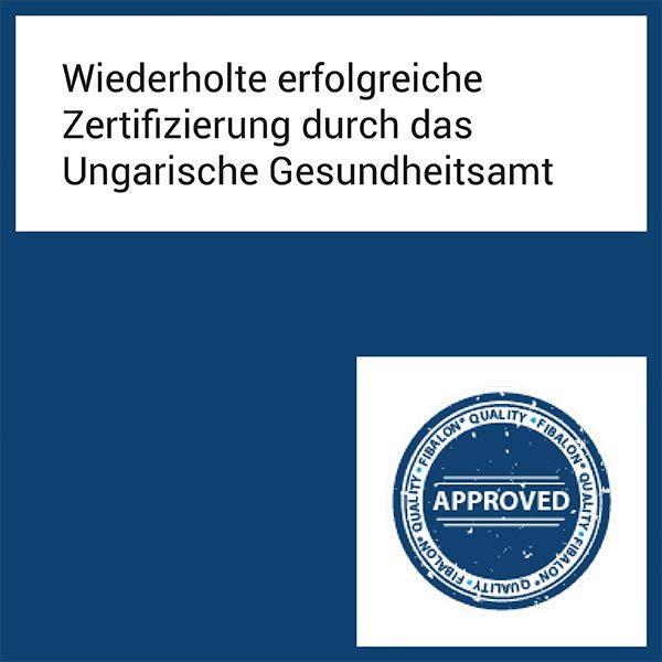 FIBALON News - Wiederholte erfolgreiche Zertifizierung durch das Ungarische Gesundheitsamt