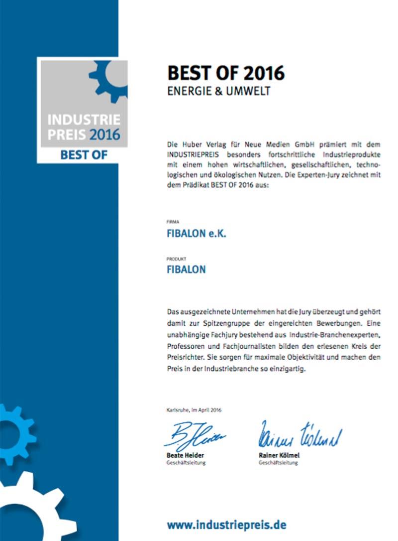 Best of 2016 Energie & Umwelt - Die Huber Verlag für Neue Medien GmbH prämiert mit dem Industriepreis besonders fortschrittliche Industrieprodukte mit einem hohen wirtschaftlichen, gesellschaftlichen, technologischen und ökologischen Nutzen.