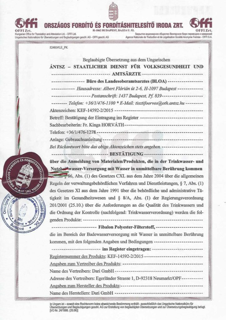 FIBALON wurde wiederholt durch das Ungarische Gesundheitsamt zertifiziert und hat der Qualitätsprüfung erneut standgehalten.